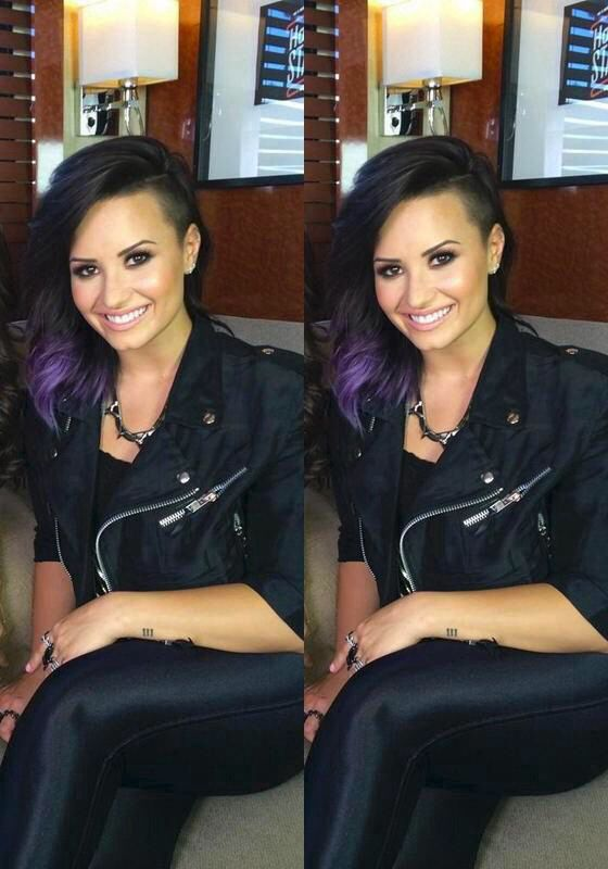 Demi Lovato. I could never do the shaved side, but i LOVE what she's done with her hair here!