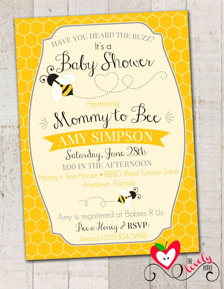 Bumble Bee Baby Shower Invitation, Printable Mommy to Bee Invite, DIY Digital Bee Baby Shower Invite by thelovelyapple on Etsy https://www.etsy.com/listing/194948167/bumble-bee-baby-shower-invitation