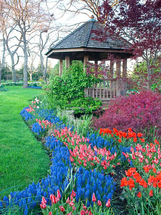 Help color pop in your garden by planting matching blooms in large groups. More ways to add color to your garden: http://www.bhg.com/gardening/design/color/color-in-the-garden/?socsrc=bhgpin051413plantgroups=8