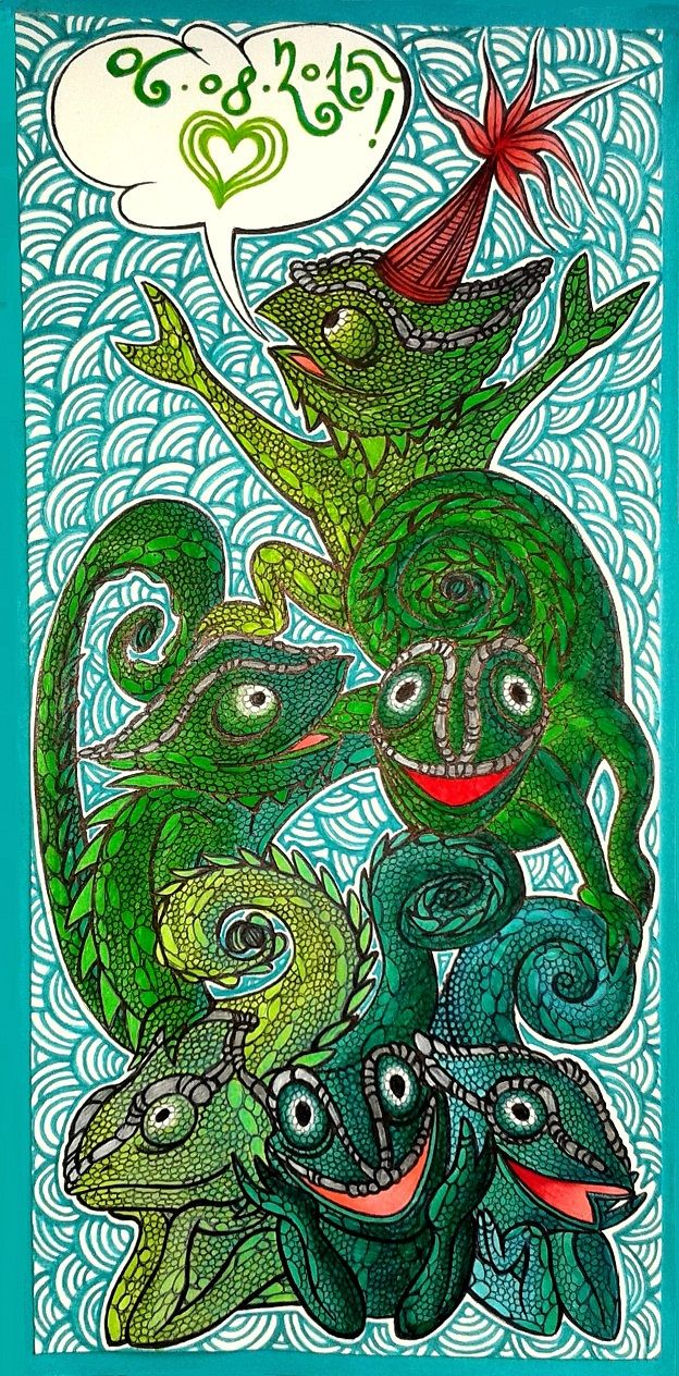 A greeting card with some acrobatic chameleons' show ;)