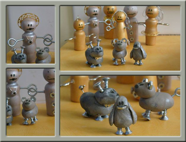 robots- make grey playdoh and add screws, bolts etc...