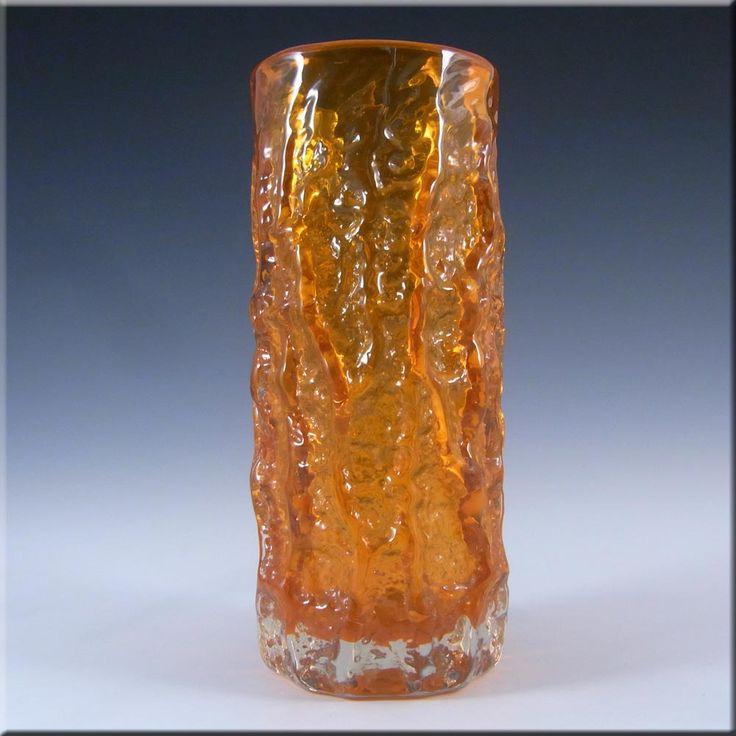 Whitefriars/Baxter Tangerine Glass 7.5 Textured Bark Vase - £70.00
