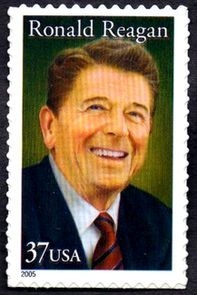Ronald Reagan 2005 Issue-37c.The U.S. Postal Service issued a 37-cent Ronald Reagan commemorative stamp on February 9, 2005. The first day of issue occurred in Simi Valley, California. Stamp design is by Howard E. Paine, Delaplane, Virginia. The image of Reagan was modeled after a portrait painted by award-winning artist Michael J. Deas.[1] On June 14, 2006, this stamp was reissued with a 39-cent valuation to match the new first-class postage rate
