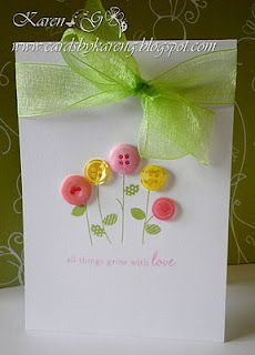 This could be a cute and quick birthday card. Button flowers.#Repin By:Pinterest++ for iPad#