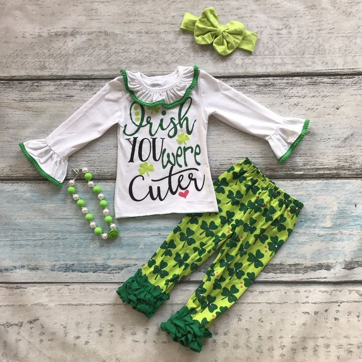 >> Click to Buy <<  baby St.Martin's day you are cute outfit girls Spring suit green shirt cotton aztec print pants with matching accessories #Affiliate