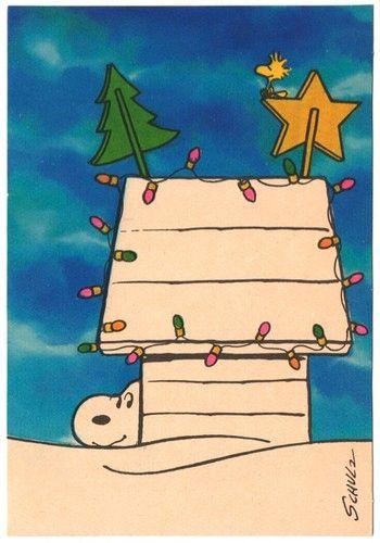 Vintage Snoopy Christmas Card #Peanuts #Charlie Brown