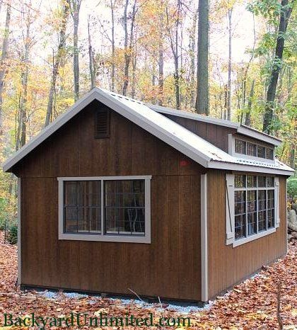 "12'x20' Grandview Shed with Transom Windows, Transom Dormer, Additional 30""x36"" Windows, Gable Vent, Mushroom Stain, and Metal Roof http://www.backyardunlimited.com/sheds/garden-sheds"