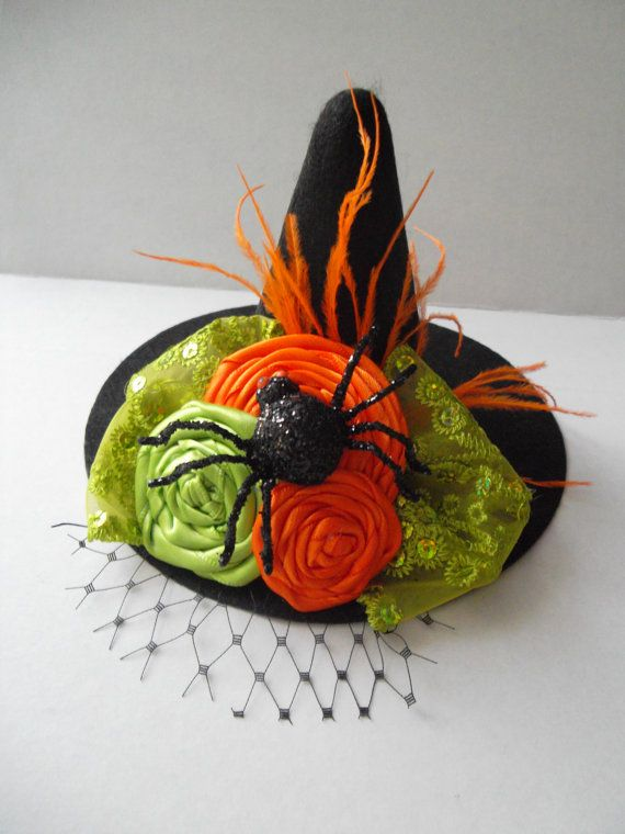 Mini Couture Witch Hat with Spider by RusticSouthDesigns on Etsy