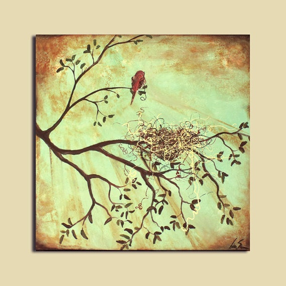 Bird Nest Original Painting 24 x 24 Abstract Vintage: Bird Paintings, Bird Nests, Nest Original
