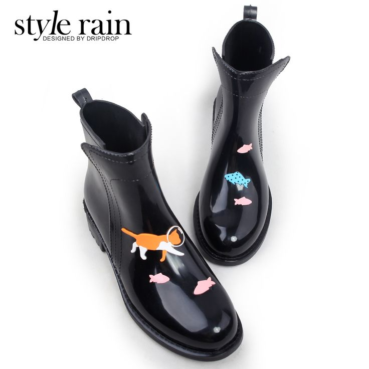 Эра ручной росписью ветер Лин 2017 года мода женщин с низким вырезом обувь сапоги резиновые сапоги воды обувь сапоги женская -tmall.com Lynx