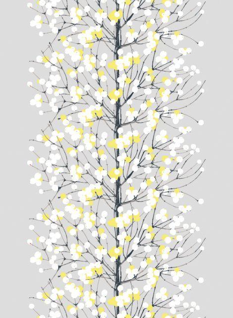 Kaunis Lumimarja-puuvilla (harmaa,keltainen,valkoinen) |Kankaat, Puuvillakankaat | Marimekko