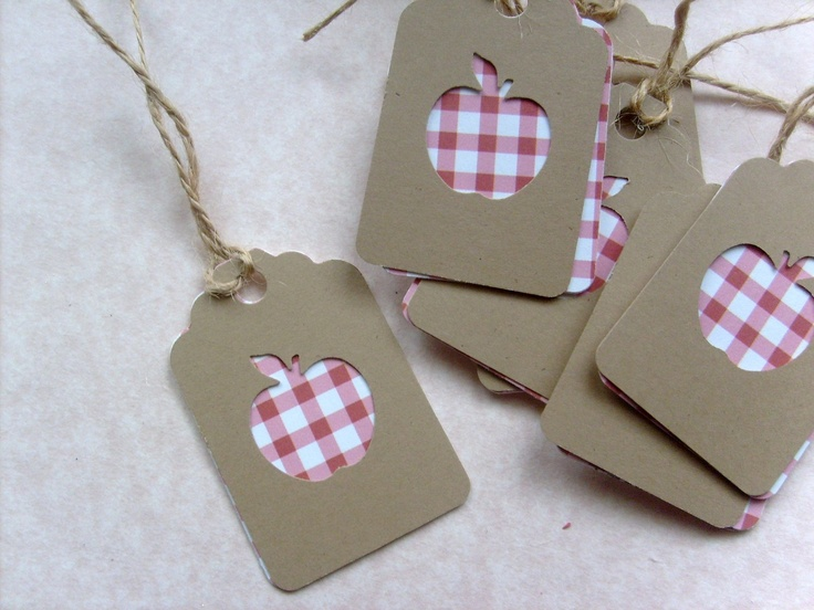 Tags for Teacher... Red Checkered Apples and Kraft paper Small Gift tags... Set of 15. $5,20, via Etsy.