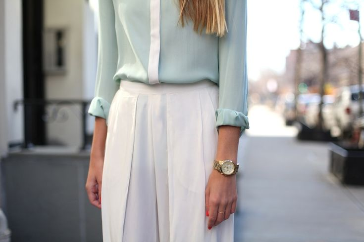 white & mintBlouses, Fashion, Style, Cleaning Line, Than, Colors Combinations, White Pants, Colors Schemes, Maxis Skirts