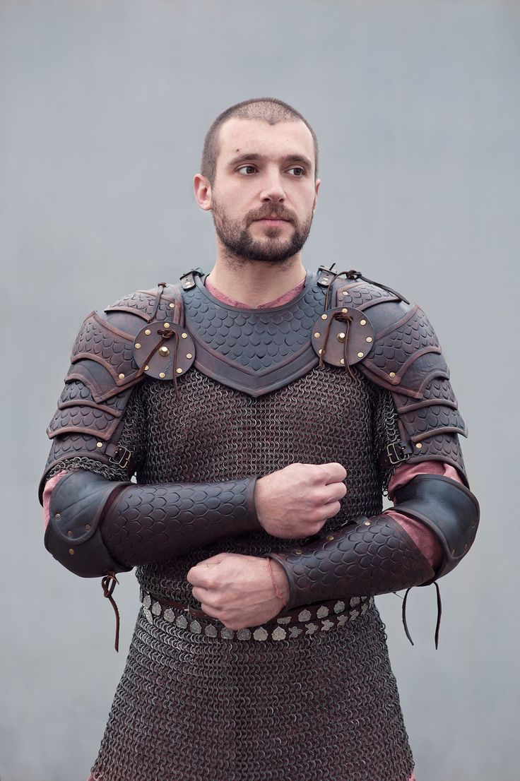 Viking-era armour.  Before steel plate armour became easy to make, boiled leather would be worn over a chain-mail suit.