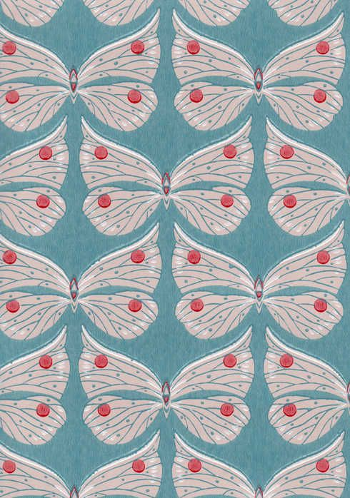 Ritva Kronlund: Perhonen wallpaper.  I wonder how long it would take for me tom hate this. But I love it now.