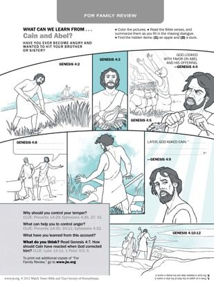 What Can We Learn From Cain and Abel? Download and print this activity, complete the picture, and then answer the questions together as a fa...