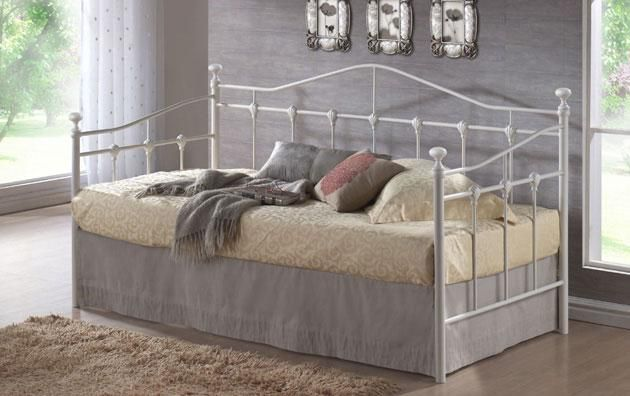 3ft Day-bed Deluxe Cream Frame - £179.95 - Superb quality day bed frame in cream. Ideal for bedrooms, offices etc and can be used as a sofa and a bed.  A very very popular frame which has some lovely detailing with scalloped designs in the metalwork.  The frame itself is made from steel with the base part being made up from a slat system which uses sprung slats for comfort.