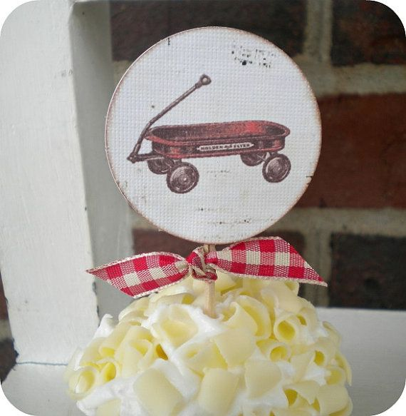 NEW - Little Red Wagon Cupcake Toppers- Set of 10 - Vintage Inspired / Cottage Chic - Favors, Baby Showers, Birthdays