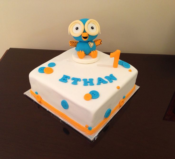 Giggle and Hoot theme .. Square sponge filled with jam and buttercream, covered with fondant