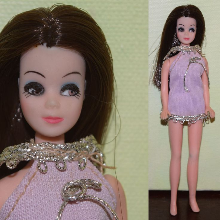 1970s Topper 65 DAWN DOLL Brunette Goth Rooted Eyelashes Angie W Dress