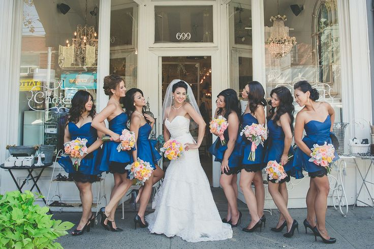 Felicia & Her Girls  l  Photography by Wandering Eye  l  Felicia's beautiful bridesmaids are wearing Noir by Lazaro in navy/black available at Pearl Bridal House.