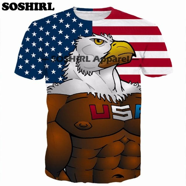 Aliexpress Men. SOSHIRL Anime 3D Print T Shirt Summer Tops Cartoon Eagle Tee Fashion Unisex Men's T Shirt Brand Clothing Plus Size Dropship