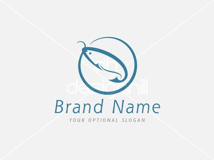New logo design for sale on Design Hill -  simple, blue, circle, clever, water, sharp, food, river, fish, sport, creative, tool, sea, ring, equipment, gear, angle, lake, marine, fishing, catch, hook, bait, angling, fiber, fin, trout, salmon, logo, design, template,