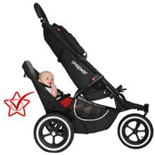 Phil & Teds Classic Double Stroller - This is our instructor Jodi's stroller. It easily becomes a stroller for one or two. Her only complaint is the lack of storage under the stroller when you have 2 children in it--their feet take up the storage space.