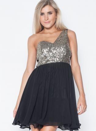 Black One Shoulder Dress with Sequin Top Skirt,  Dress, one shoulder dress  party dress, Chic