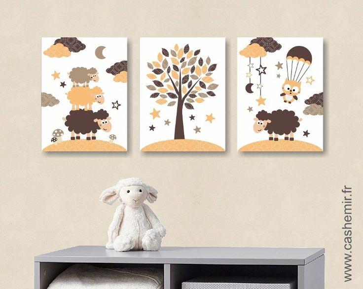 Lot de 3 illustrations pour chambre d'enfant garçon, décoration chambre bébé affiche poster, réf.49 marron orange : Chambre d'enfant, de bébé par cashemir