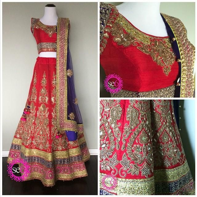 Fully embroidered paneled silk lehenga from Studio East6 is perfect for bridal attire   #IndianBride #IndianFashion #Lehenga #StudioEast6 #Bollywood