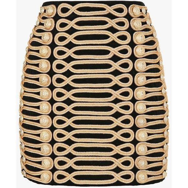 Braided military cotton velvet mini skirt | Women's skirts | Balmain ($4,020) ❤ liked on Polyvore featuring skirts, mini skirts, short skirts, balmain, beige skirt, short mini skirts and military skirt