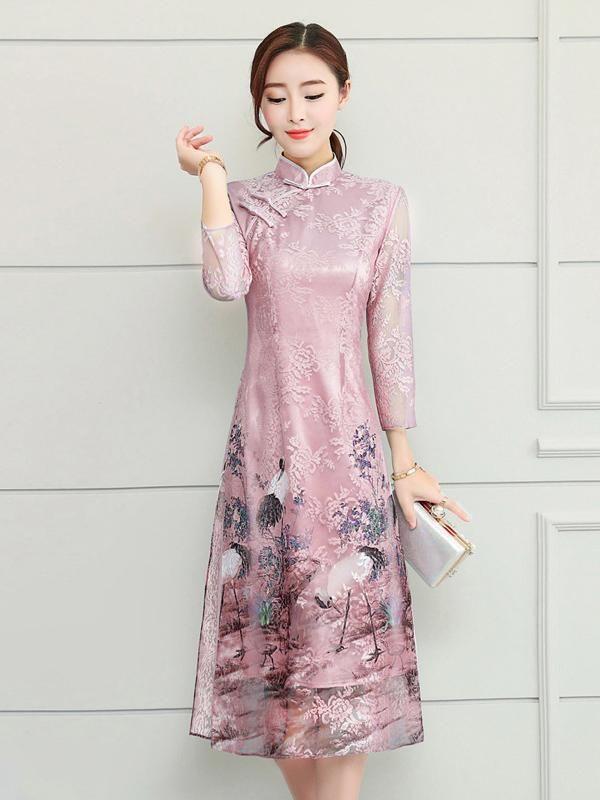 d0c06332d Pink Chiffon Crane Print Long Cheongsam Ao Dai – uoozee | National ...