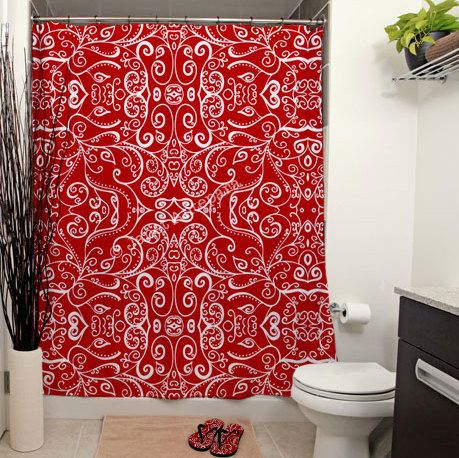 Silent Era Ruby Red Shower Curtain Red by JanetAnteparaDesigns