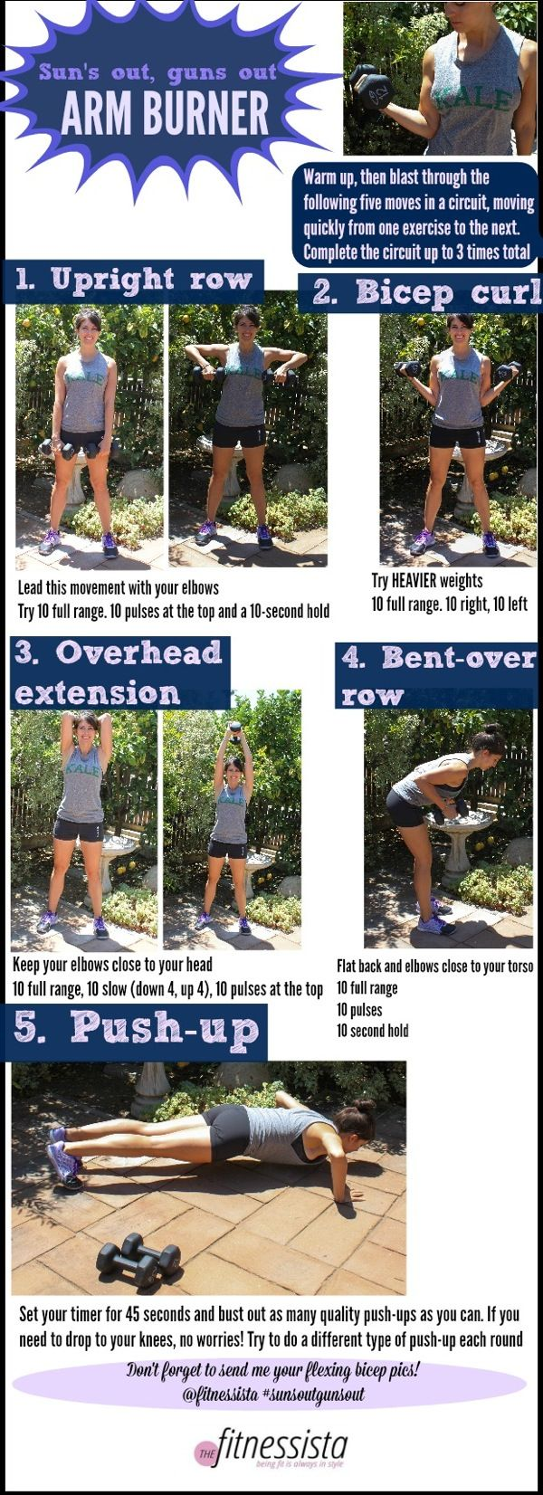 Suns out guns out arm burner. A fast and furious workout to strengthen your entire upper body! Can be completed with just a pair of dumbbells and your own body weight. www.fitnessista.com