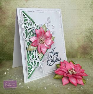 Card made using Crafter's Companion The Scoremaster Create-a-Card Toulouse die  Centura Pearl card, Sara Signature Butterfly Lullaby Fancy Flourishes Die, Sara Signature Festive Wonder - Christmas Wishes Stamp set, Die'sire Poinsettia Die. Made by Liz Walker Sara Signature Festive Wonder - Paper Pad.