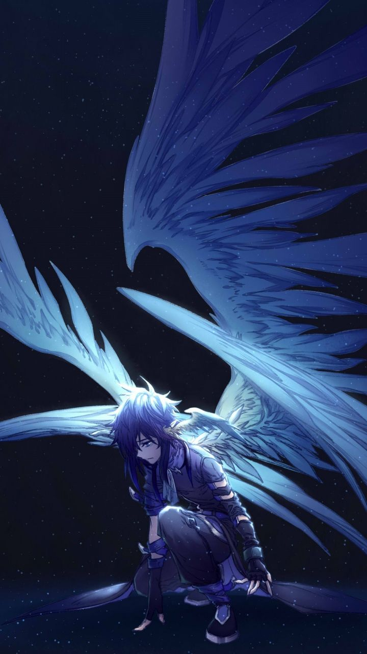 Dark Big Wings Angel Fantasy Anime 720x1280 Wallpaper Dark Anime Anime Angel Anime Angel Girl