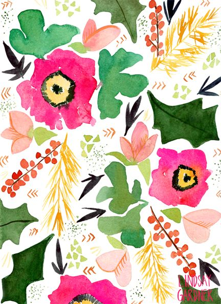 Watercolor Floral Pattern: Lindsay Gardner Art & Illustration. www.lindsaygardnerart.com
