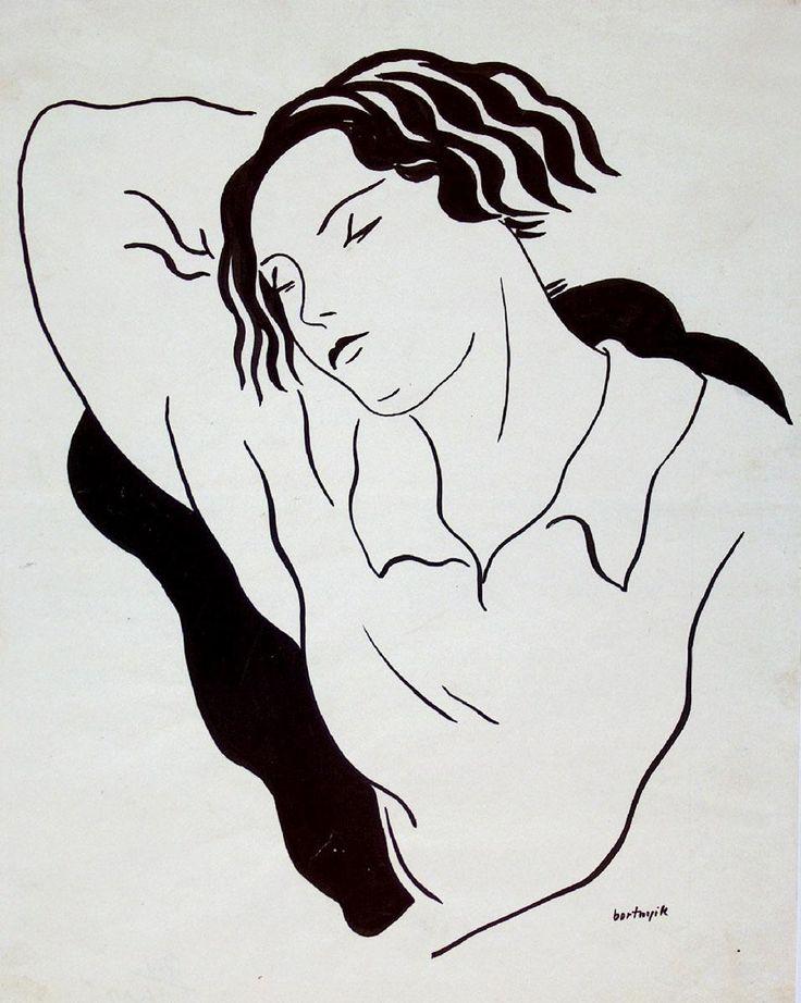 BORTNYIK SÁNDOR  Alvó nő  1930 körül  papír, tus  19–21. századi Gyűjtemény / Grafikai Osztály