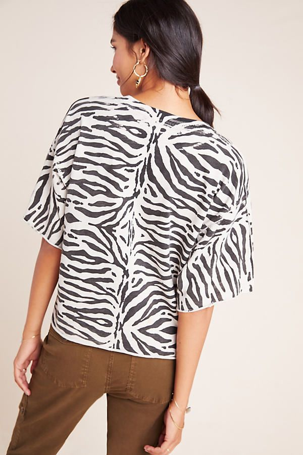 Tiger-Striped Cut-Off Tee by Nation LTD in Black Size: Xs, Women's Tees at Anthropologie 3