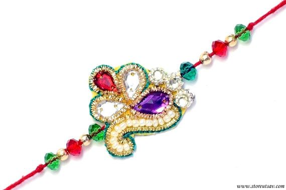 Rakhi Handmade 2 design choices Sibling Bands Zircon by StoreUtsav