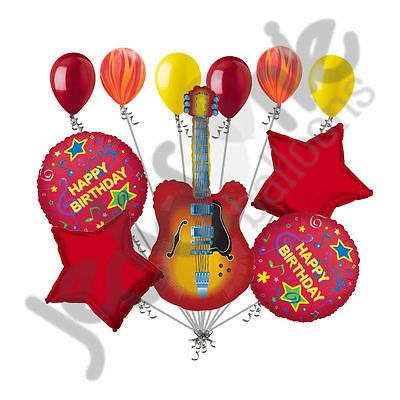 11 pc Acoustic Guitar Happy Birthday Balloon Bouquet Party Decoration Red Orange