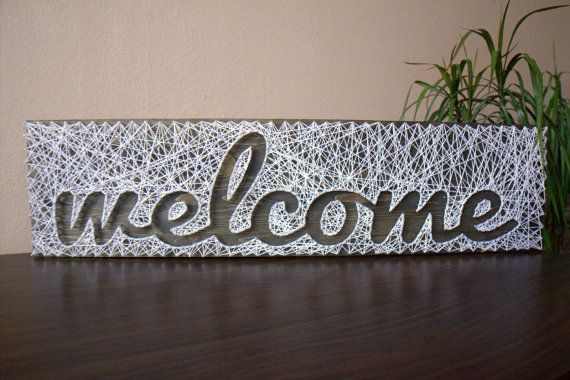 String art Sign Welcome Customizable Wall hanging Wooden decoration by Marambra