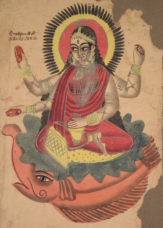 The Goddess Ganga, Kalighat; 19th century black ink, color and silver paint, and graphite underdrawing on paper, Secondary Support - h:53.00 w:35.60 cm (h:20 13/16 w:14 inches) Painting only - h:45.10 w:27.60 cm (h:17 3/4 w:10 13/16 inches). Gift of William E. Ward in memory of his wife, Evelyn Svec Ward 2003.158 | Cleveland Museum of Art