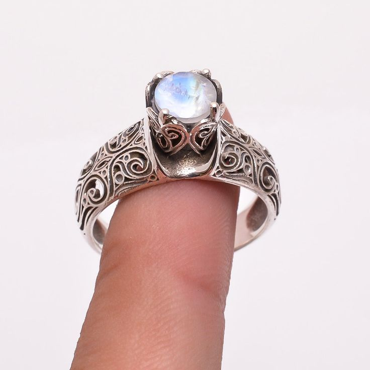 Handmade Natural Rainbow Moonstone 925 Solid Sterling Silver Ring Jewelry  #Handmade