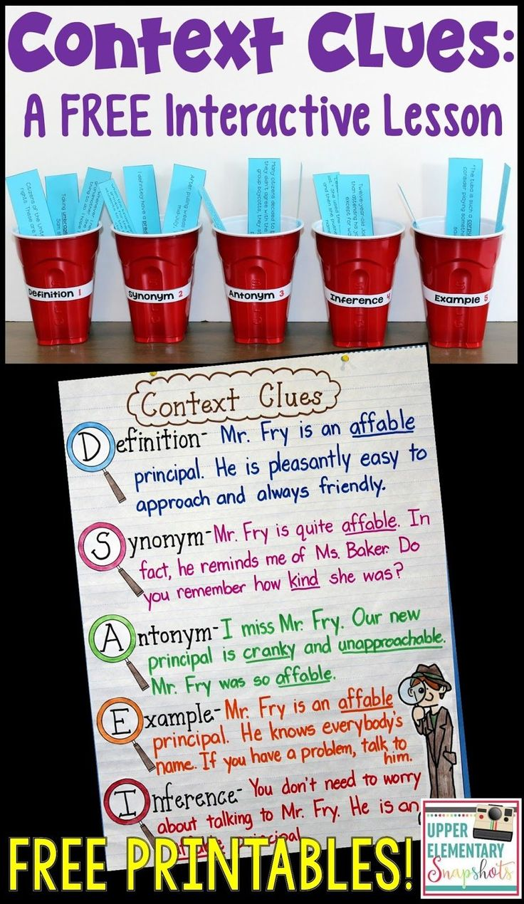 Context Clues Activities! This blog post features a context clues lesson, anchor chart, and interactive notebook entry! The free printables are available for immediate use!