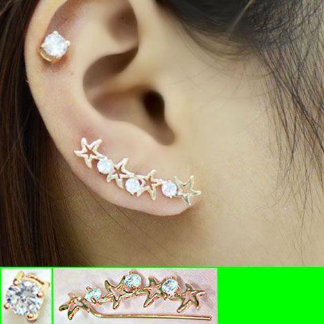 Starfish in Line Long Clip Ear Pin Asymmetric Set (2 pieces) | LilyFair Jewelry, $14.99!