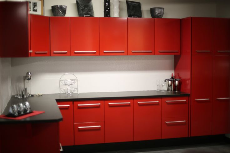 Kitchen, Beautiful Red Kitchen Cabinets Inside Modern Kitchen Placed