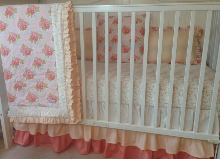 Shabby chic peaches and cream bumperless crib bedding www for Peach and gold bedroom