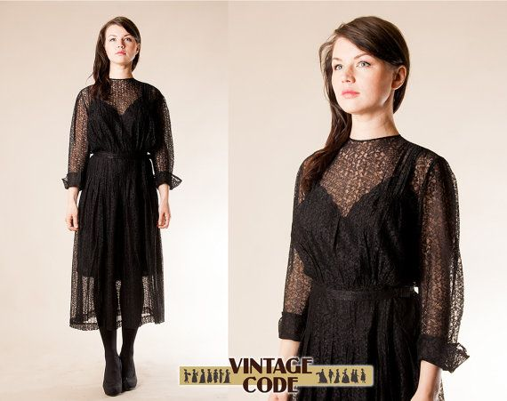 Black Lace 40s Illusion Dress /  WWII dress 1940's party cocktail Evening gown / size small to medium